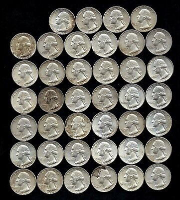 ONE ROLL OF WASHINGTON QUARTERS (1960-64)  90% Silver  (40 Coins)  LOT J95