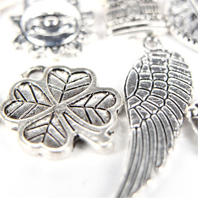 New 100Pcs Wholesale Bulk Lots Tibetan Silver Mix Charm Pendants Jewelry DIY
