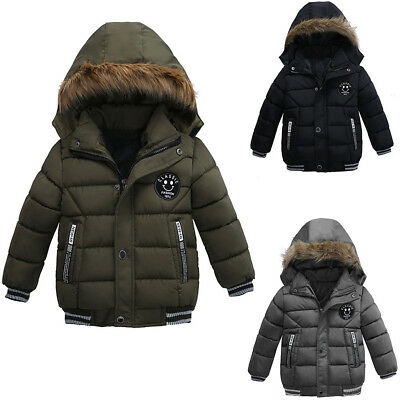 Kids Boys Warm Winter Solid Coat Cotton Polyester Padded Down Hooded Jacket GJJ
