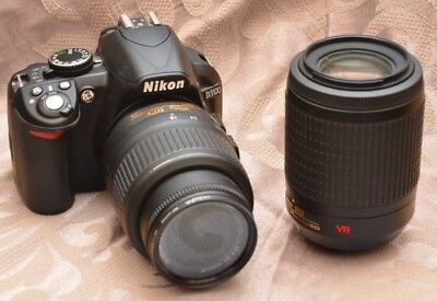 NIKON D3100 14.2MP Digital SLR Camera Kit w/ 18-55mm & 55-200mm Lenses + Charger