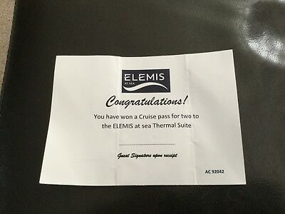 Elemis at sea cruise pass Voucher for 2 on the pacific aria 4 the thermal suite