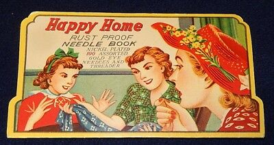 Vintage Happy Home Rust-Proof Needle Book Nickel Plated Gold Eye 100 + Threader