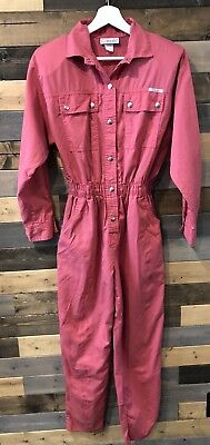 Vtg 80s IDEAS PINK JUMPSUIT Womens Snap Up Pockets ROMPER Size S/M