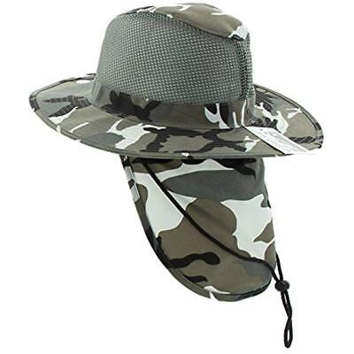 f1cde1482f721 JFH Group Wide Brim Men Safari Outback Summer Hat With Neck Flap (Large
