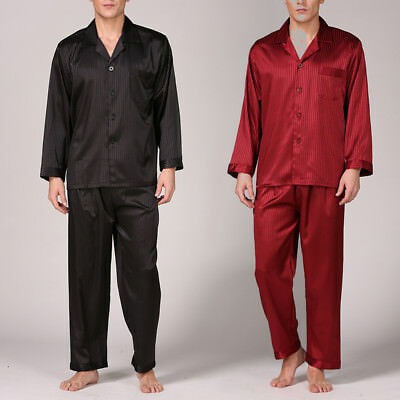 Summer Mens Silk Satin Pajamas Pyjamas PJS Sleepwear Set Loungewear L~ 3XL Plus