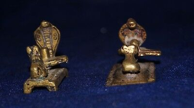 2 PIECE ANTIQUE RARE HAND CARVED BRASS or bronze  LORD SHIVA TEMPLE-SNAKE,LINGA,
