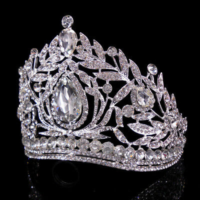 10cm High Large Adult Crystal Wedding Bridal Party Pageant Prom Tiara Crown F143
