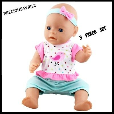 Baby born doll clothes fits 43 cm American Girl 3 piece set pants top headband