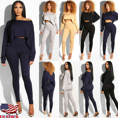 Women Crop Top Long Pants Set Two Piece Outfits Jumpsuit Playsuit Casual Clothes