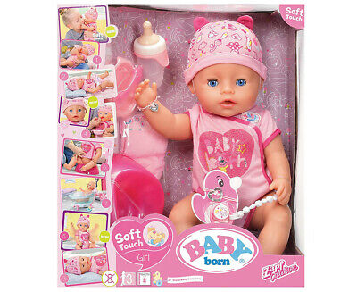ZAPF Baby Born Soft Touch Interactive Girl Doll Blue Eyes