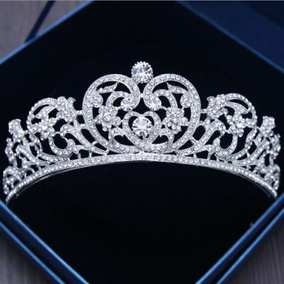 6cm High Heart Crystal Crown Wedding Bridal Party Pageant Prom Tiara F132