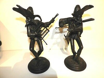 Pair of Rare Antique Spelter Chimney Sweep Candlestick Holders (excellent)