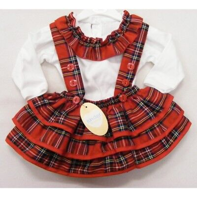 Baby & Girls Spanish Style Frilly Tartan Skirt & White Top Up to 4 Years