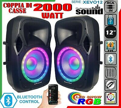 KIT IMPIANTO KARAOKE COPPIA DI CASSE 1100W MICROFONI RCA Mp3 Bluetooth USB RADIO