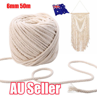 6mm 50m Macrame Rope Natural Beige Cotton Twisted Cord Artisan Hand Craft New S4
