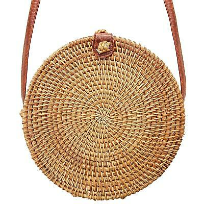 Round Rattan Bag Handmade Bali Ata Straw Woven Circle Crossbody Handag for Women