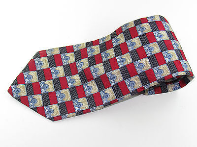 Mens Silk Neck Tie By Countess Mara Blue Red Gold Squares Hand Made In Italy