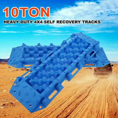4x4 Recovery Tracks Off Road 4WD Sand Snow Mud 10 Ton Tyre Ladder Blue Pair
