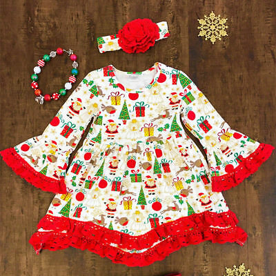 US Seller Christmas Newborn Kids Baby Girls Pageant Party Princess Dress Clothes