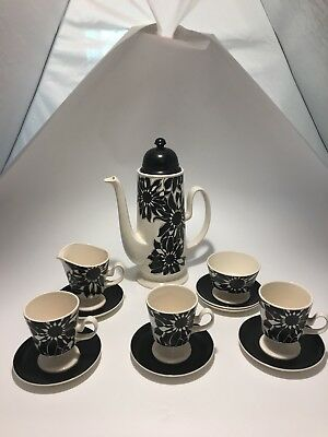 Carlton Ware Oslo Black & White Flower Pattern Vintage/retro Coffee Set