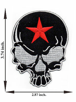 Black Skull Head Bone Skeleton Red Star Biker V02 Applique Iron on Patch Sew