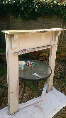 Vintage Solid Wooden Fire Place Surround White Restoration Project Simple Design