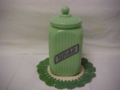 Jadeite Green Glass Sugar Canister