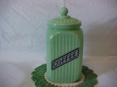 Jadeite Green Glass Coffee Canister