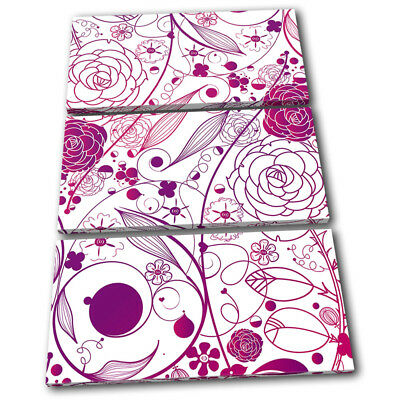 Abstract Flowers Modern Pink Floral TREBLE CANVAS WALL ART Picture Print