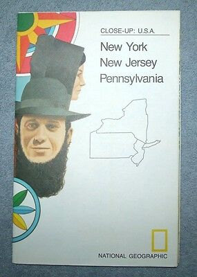 National Geographic MAP Close Up #11 New York New Jersey Pennsylvania USA 1977