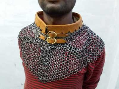 Medieval Mantle Neck Protection Butted ChainMail Avential Collar 9 mm 16 Gauge
