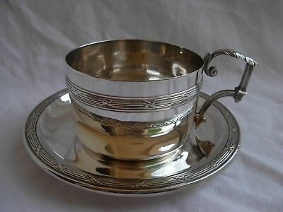 ANTIQUE FRENCH STERLING SILVER TEA OR CHOCOLAT CUP & SAUCER,LATE XIXth.