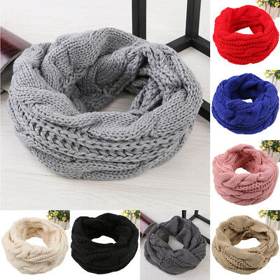 Women Ladies Wool Crochet Knit Winter Warm Knitted Neck Circle Cowl Snood Scarf