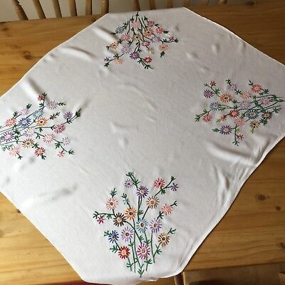 Vtg Linen Hand Embroidered Floral Table cloth 32x26 inch multi colours