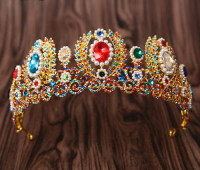 5.5cm High Large Colorful Crystal Tiara Crown Adult Wedding Party Pageant Prom