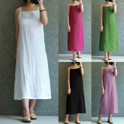 Womens Summer Sleeveless Plus Size Sundress Loose Kaftan A-line Long Maxi Dress