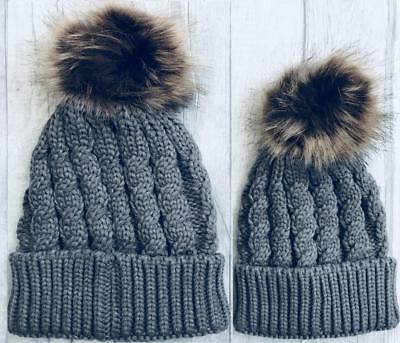 Matching MUM and BABY KNITTED HAT Set Grey Bobble WINTER Hat, BABY GIRL Gift