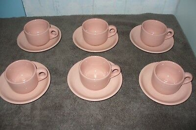 Vintage Bulk lot 6 Buffalo China Pink Rouge Ware Cup & saucers