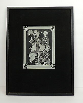 Roger Court Signed Vintage Japanese Metal Art Press Ink block Matted & Framed