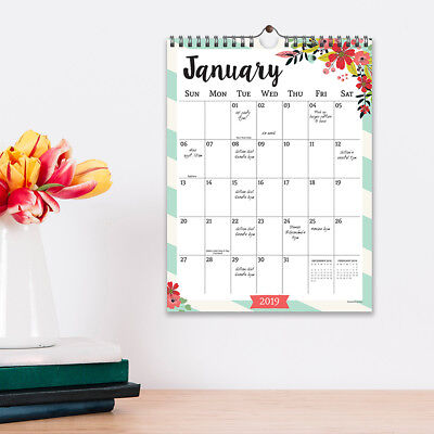 2019 Floral Monthly Wall Calendar