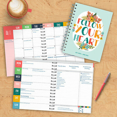 July 2018 - June 2019  Heart Medium Weekly Monthly Planner