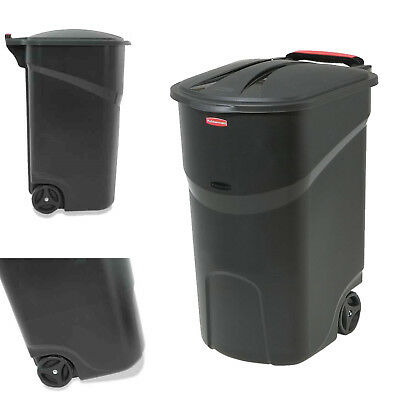 45 Gallon Wheeled Trash Can with Lid Outdoor Garbage Container Waste Bin Basket