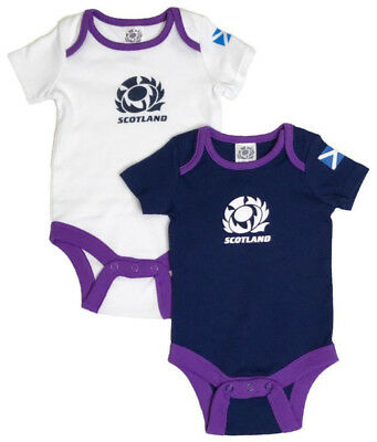 Official Scotland Rugby Baby 2 Pack Bodysuits   Navy/White   2018/19 Season
