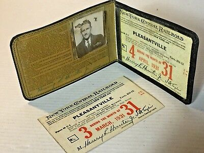 Vintage 1931 New York Central Railroad Pass Holder & 2 Monthly Tickets