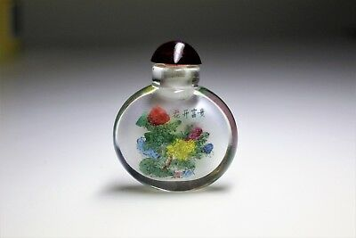 Chinese Oriental Hand Painted Floral Glass Antique Snuff Bottle Ornament