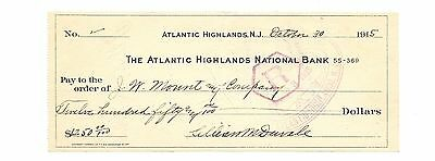 Check 1915 To J. W Mount & Company ~ Atlantic HIGHLANDS Banco N J Fr / Shi