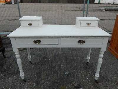 Superb antique dressing table desk on turned legs with four drawers shabby chic