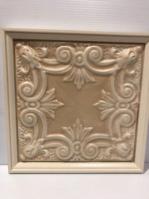 # 3 Framed Antique Tin  Ceiling  Wall Decor Cream White Embossed Ready To Hang