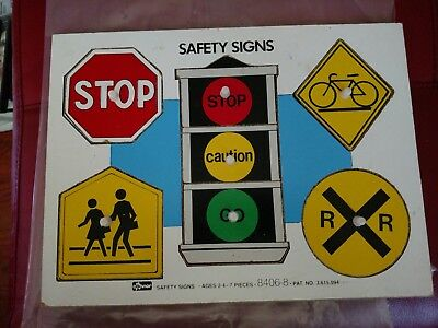VINTAGE CONNOR SAFETY SIGNS WOOD INLAID PUZZLE - Stop,RR Crossing, Traffic Light