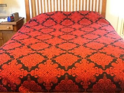 """Vintage woven red and navy COVERLET, reversible, 82""""x96"""""""